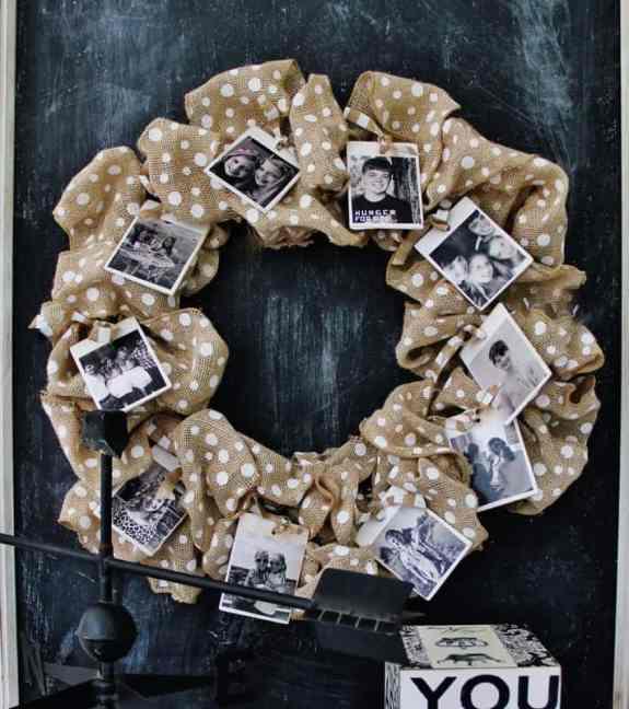 Burlap Photo Wreath