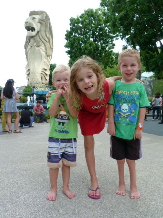 Casper, Olive and Jetson. Sentosa Island. From the Wood's trip to Singapore in 2014