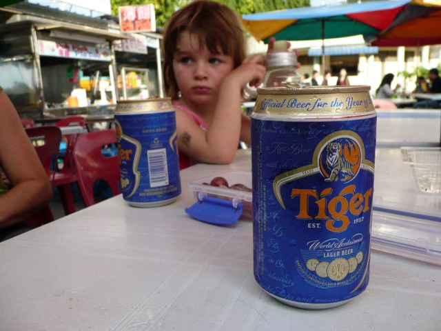 Having a beer in George Town, Penang, Malaysia