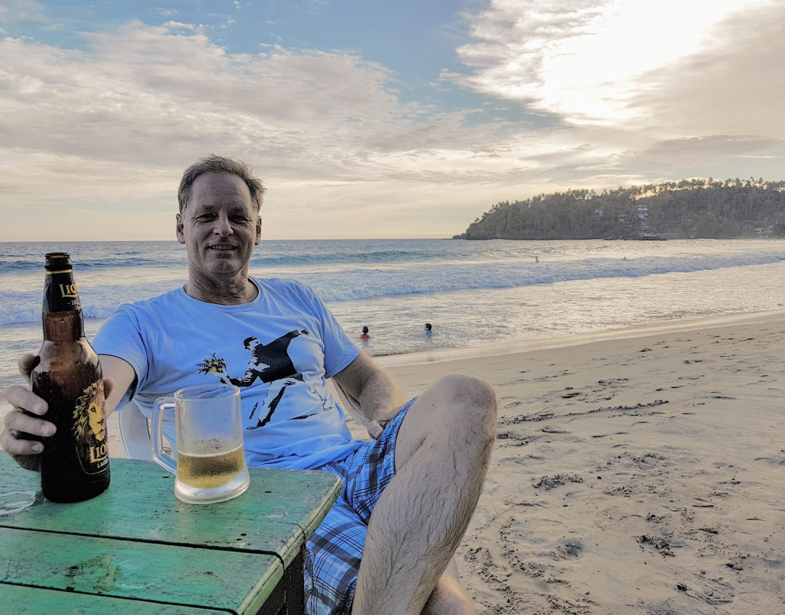 Drinking a beer in Sri Lanka
