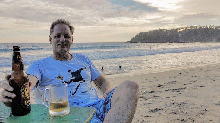 Drinking a beer in Sri Lanka