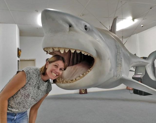Clare and shark head in Streaky Bay