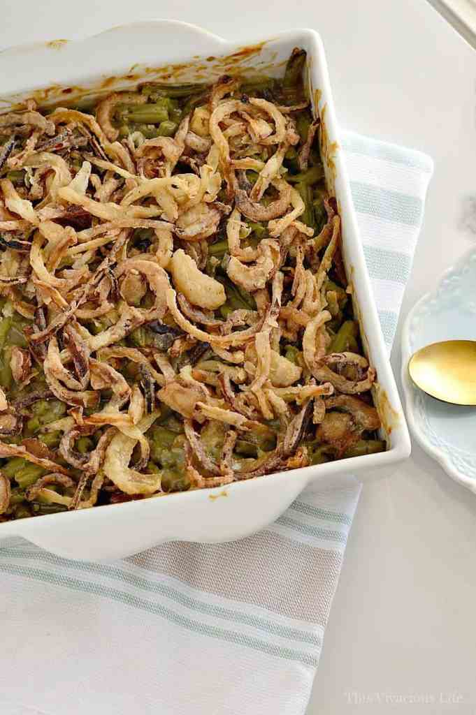 Our gluten-free green bean casserole with homemade fried onions is the perfect accompaniment to your Thanksgiving dinner. It is the best classic Thanksgiving side dish.