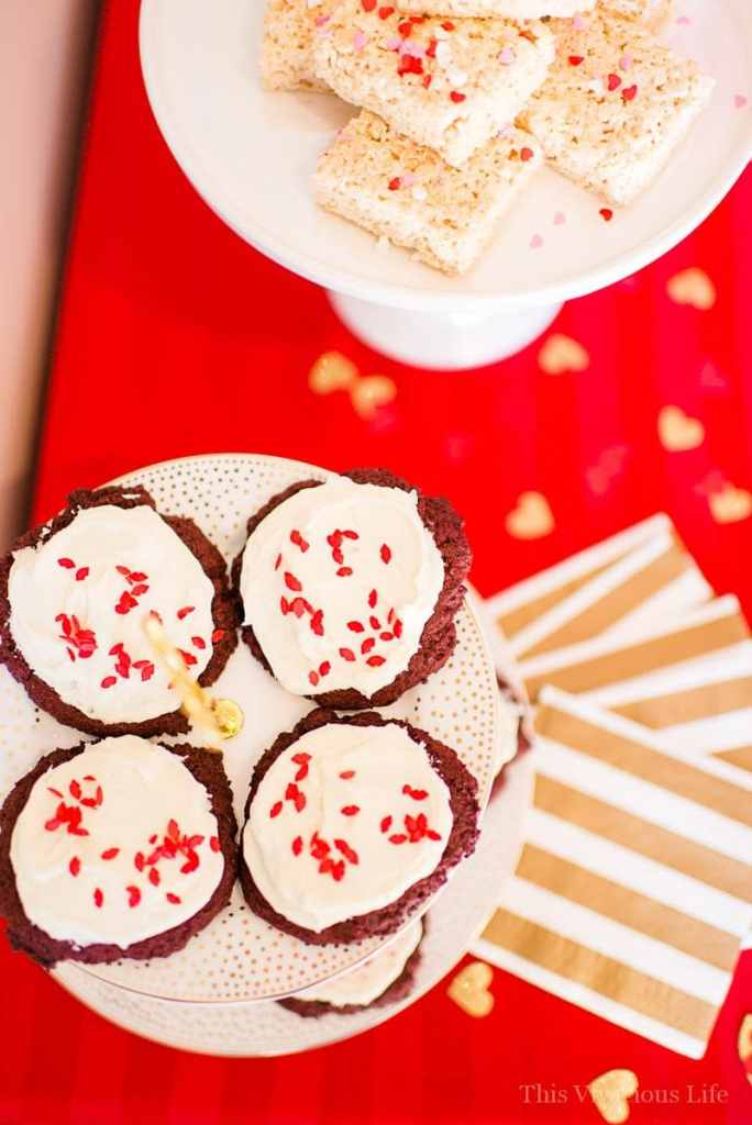 These ooey, gooey red velvet cookies are moist, soft and so delicious they will make your valentine swoon! | gluten free cookies | gluten free red velvet cookies | gluten free valentines day recipes | valentines day cookies | red velvet recipes | easy valentines day treats || This Vivacious Life #glutenfree #valentinesdaycookies #redvelvet