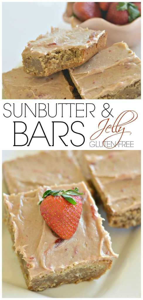 These Sunbutter and jelly bars are full of classic, nostalgic flavor. They are gluten-free and nut-free!   allergy friendly bars   sunbutter recipes   gluten-free bars   nut-free bars   gluten-free desserts   nut-free desserts    This Vivacious Life #sunbutter #nutfreedessert #glutenfreedessert