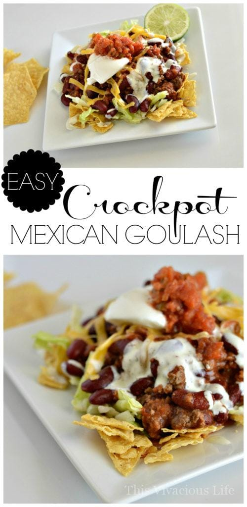 This crockpot Mexican goulash is super easy to prepare and taste fantastic! It is a great dinner that the whole family will love. | crockpot meal ideas | crockpot dinner recipes | homemade goulash recipe | how to make goulash | recipes for the slow cooker | slow cooker dinners | crockpot dinners | gluten free recipe ideas | gluten free meals | gluten free dinner recipes || This Vivacious Life