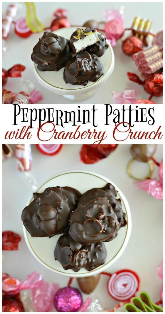 These peppermint patties with cranberry crunch are a delicious Christmas candy that can be made quickly with no thermometer. | homemade peppermint patties | easy peppermint patties | peppermint patties recipe | easy Christmas treats | holiday dessert recipes || This Vivacious Life #peppermintpatties #christmastreat #holidaysweets