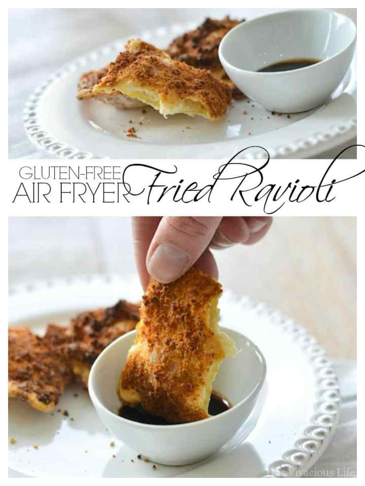Gluten-free air fryer fried ravioli are so easy, have less fat than the traditional version and take only minutes to make.   air fryer recipes   gluten free appetizers   healthy fried recipes   easy air fryer recipes    This Vivacious Life #recipe #glutenfree #airfryer #ravioli #glutenfreeappetizer #airfryerrecipe