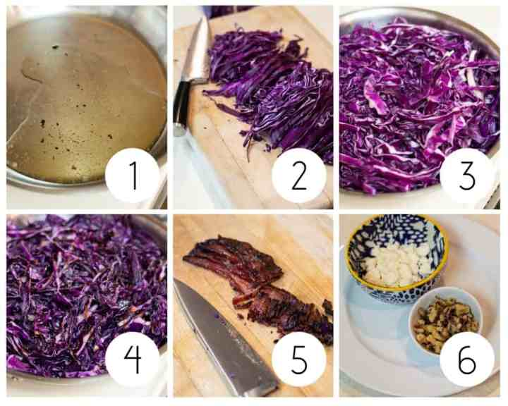 Step by step instructions to make red cabbage salad