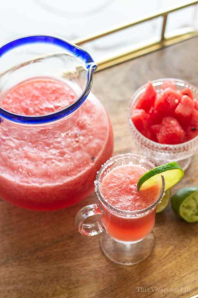 This watermelon mocktail is so refreshing and perfect for those hot summer days. It's so simple to make these delicious drinks and they are great for the whole family. | mocktail recipes | summer drink recipes || This Vivacious Life #recipe #mocktail #nonalcoholic #watermelon #drinkrecipe #summerdrink #thisvivaciouslife