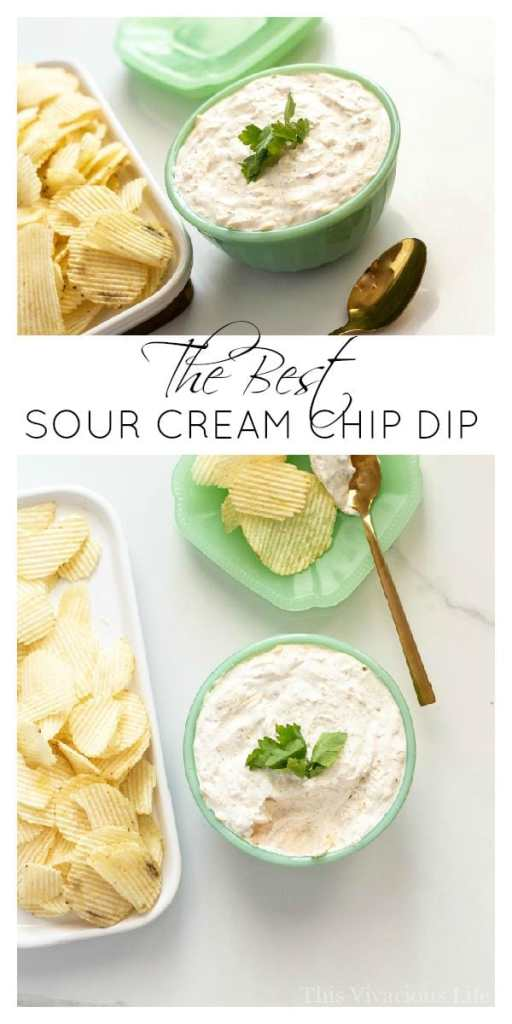 This sour cream chip dip is a classic snack that everyone will love. | gluten-free dip | sour cream dip recipes | chips and dip | gluten-free appetizers || This Vivacious Life #recipe #glutenfree #dips #chipsanddip #diprecipe #appetizer #thisvivaciouslife