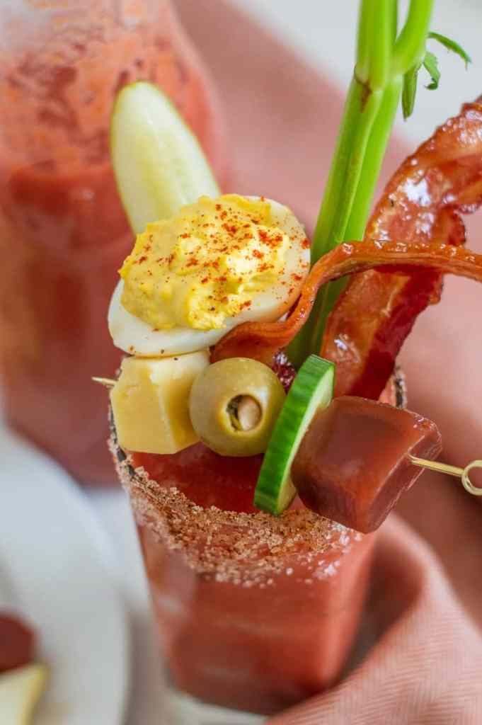 Non-alcoholic Bloody Mary in a glass with garnish