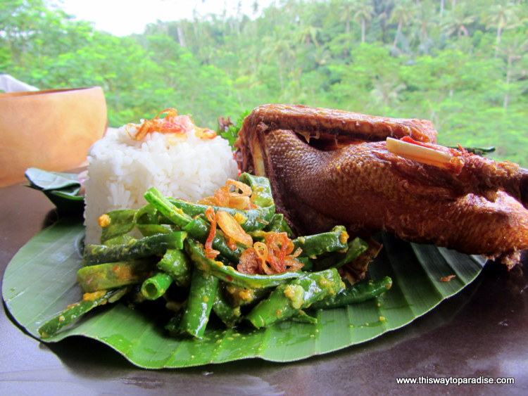 Eating duck in Bali