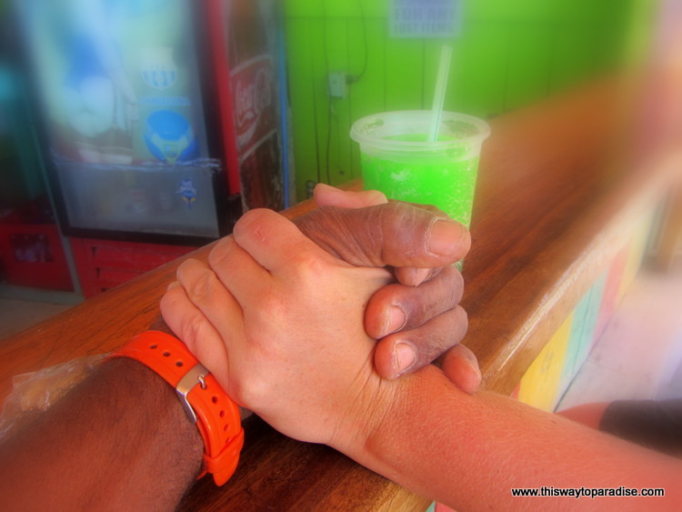 Holding hands on Caye Caulker