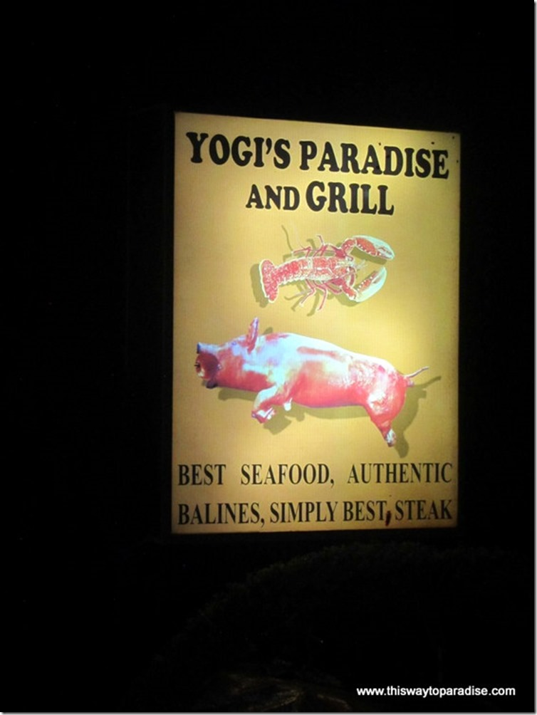 Yogi's Paradise and Grill sign, a restaurant in Kuta, Bali