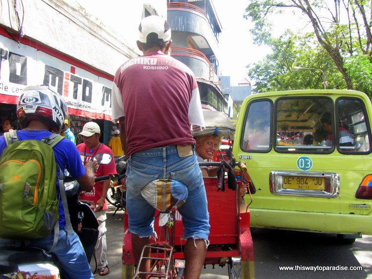 Ambon's busy streets from a becak
