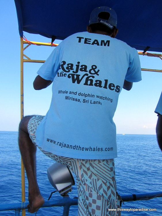 Raja and the whales crew member, Mirissa Sri Lanka