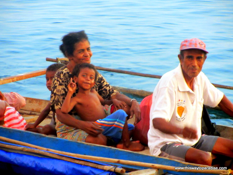 Family on boat, Raja Ampat