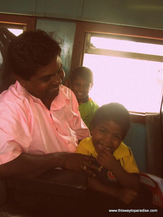 Family on the train in Sri Lanka