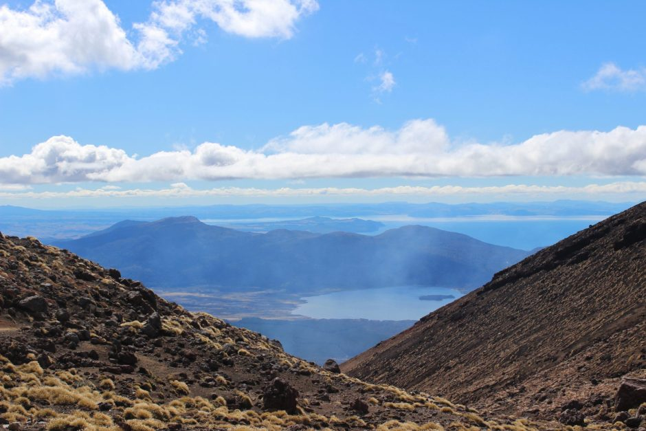 The view over Taupo from the Tongariro Alpine Crossing, New Zealand