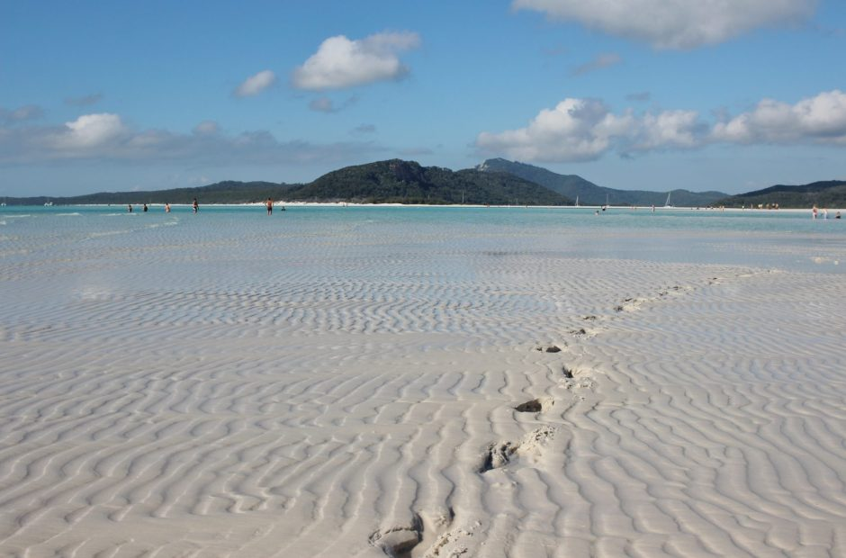 Footprints in the sand in the Whitsunday Islands, Australia
