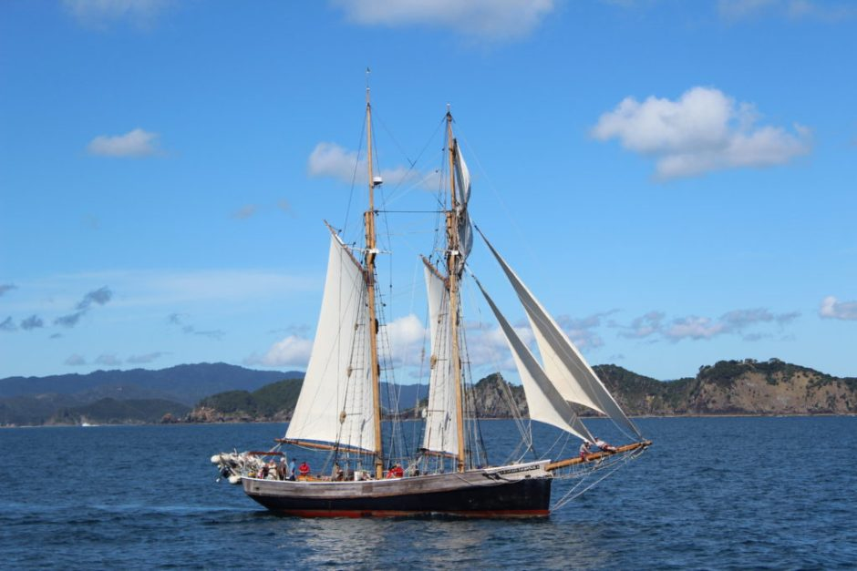 Sailing ship in the Bay of Islands, New Zealand