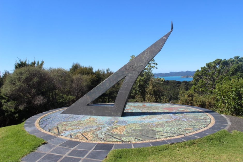 Sundial on Flagstaff Hill in the Bay of Islands, New Zealand