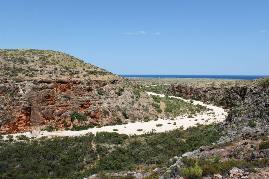 See the dry riverbed trail through red gorges down to the Ningaloo Coast, Australia