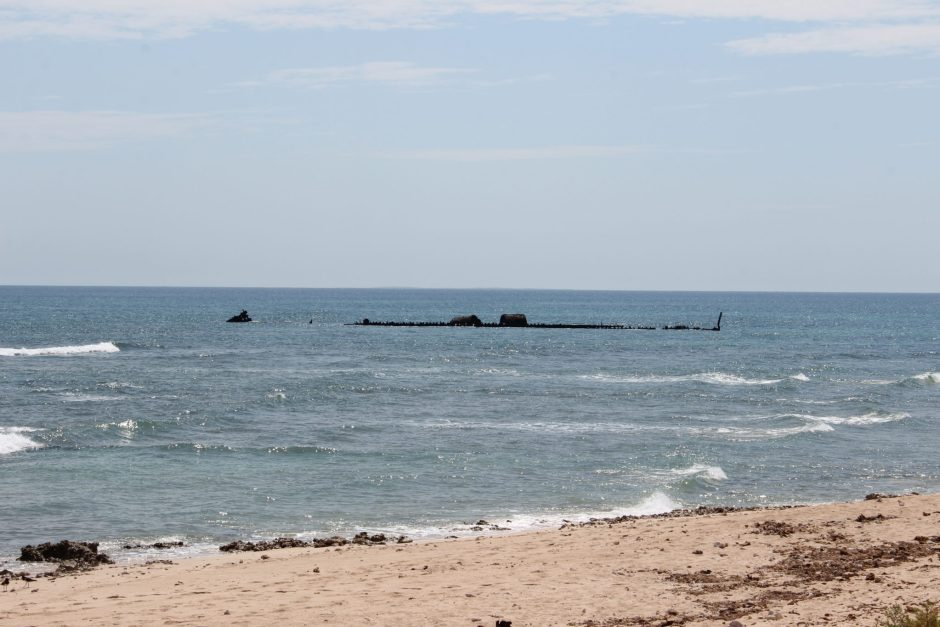 The SS Mildura, wrecked in 1907, can be seen from the beach at the Ningaloo Coast, Australia
