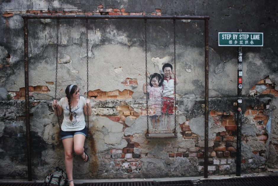 An interactive piece of street art in Penang, Malaysia