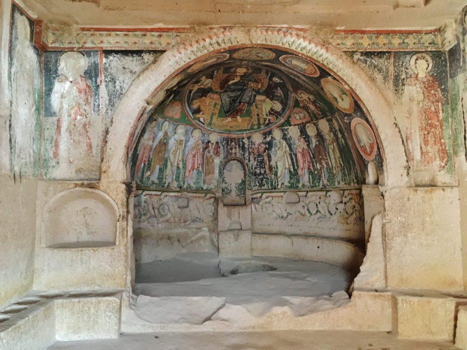 Inside a cave church in Cappadocia, Turkey