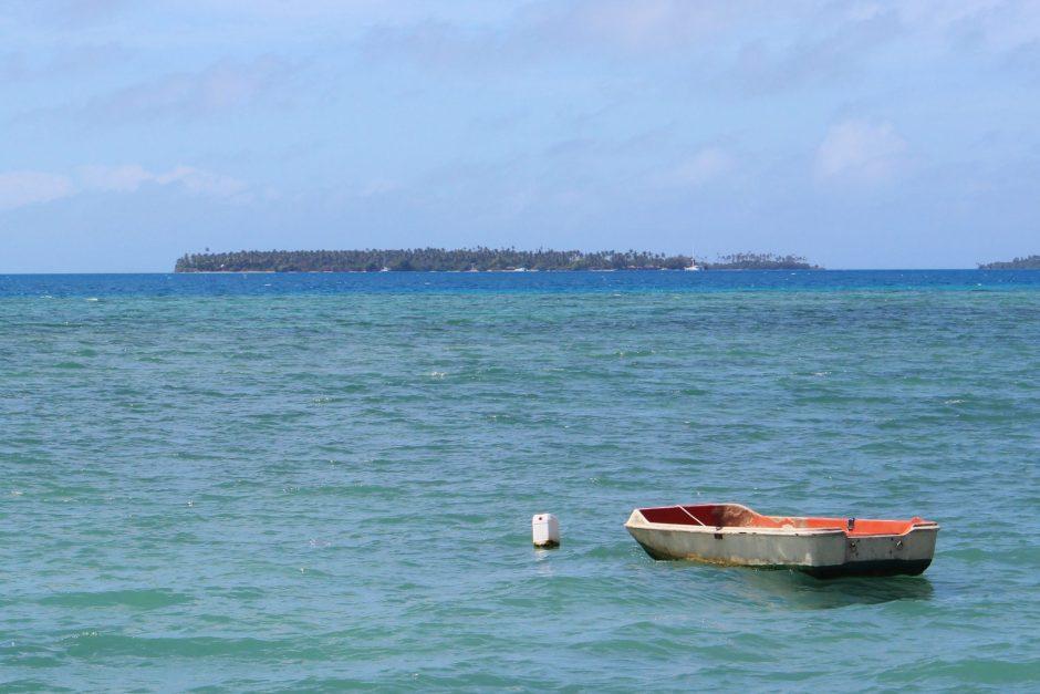 A small boat at anchor, Tonga