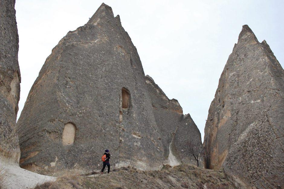 Walking past wide fairy chimneys in Cappadocia, Turkey