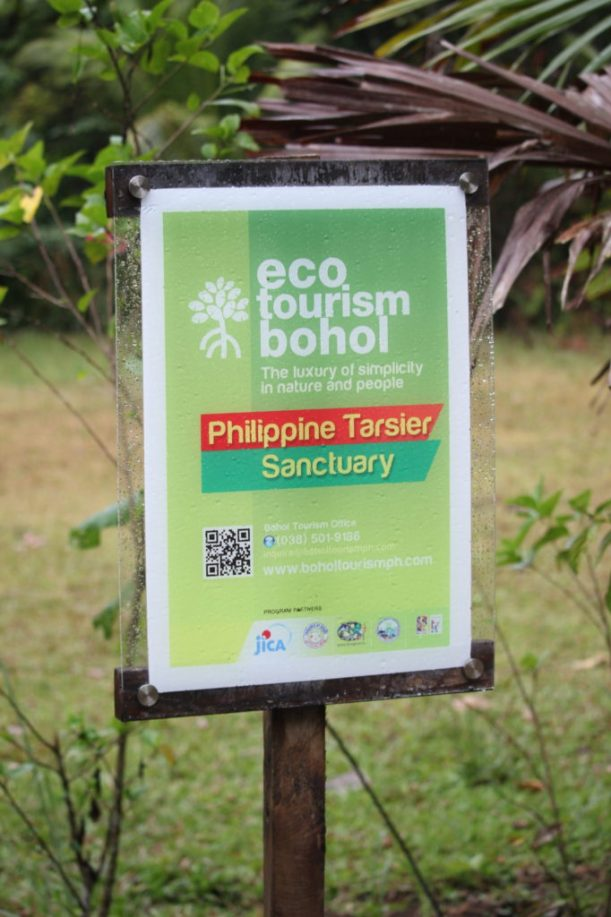 The sign at the Philippine Tarsier Sanctuary in Bohol