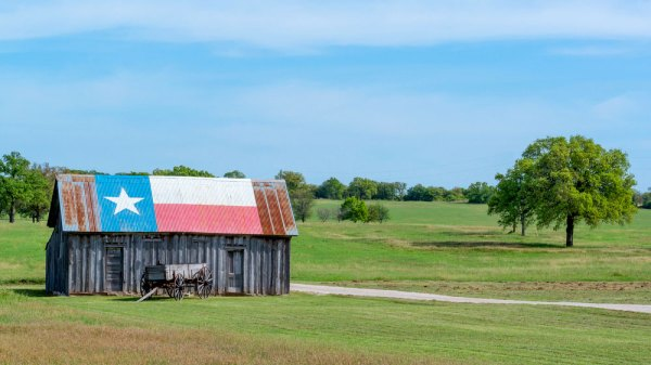 Farm with small shack. The shack has the Texas flag on the roof