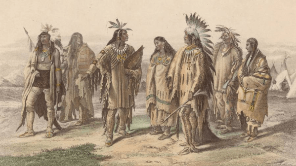Painting of a group of Iroquois people.