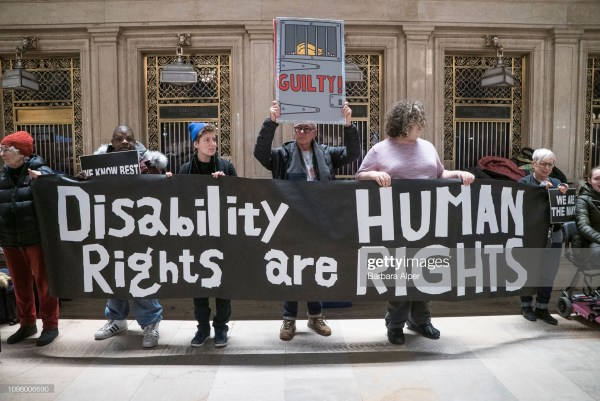View of demonstrators as they hold a banner (that reads 'Disability Rights are Human Rights') during the Non-March For Disabled Women inside Grand Central Station, New York, New York January 19, 2019. (Photo by Barbara Alper/Getty Images), New York, New York January 19, 2019. (Photo by Barbara Alper/Getty Images)