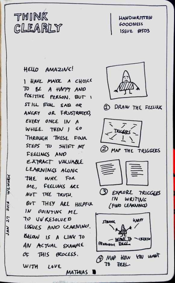Photo of a Think Clearly handwritten newsletter created by Mathias Jakobsen