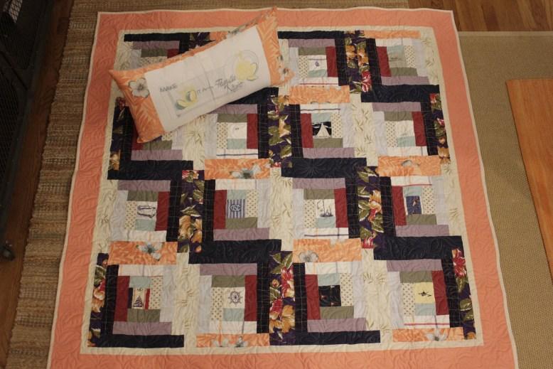 Log Cabin Memory Quilt and Custom Memory Pillow