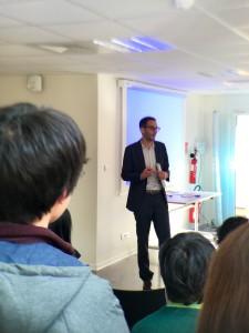Representative from Valeo - thr Hackathon sponsor - announcing the winning project.