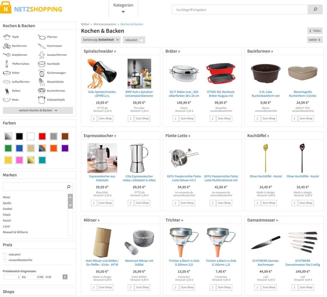 Küchenwerkzeug und Küchengeräte einkaufen bei Netzshopping