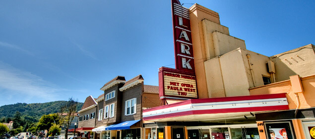 photo of the Lark Theater marquee in Larkspur for moving to marin article