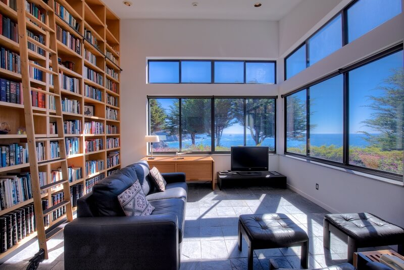 Library at Mendocino coast home for sell by Thomas Henthorne