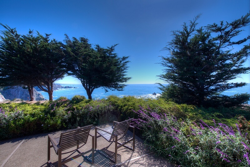 One of the decks at Sea Arches Mendocino coastal home for sale