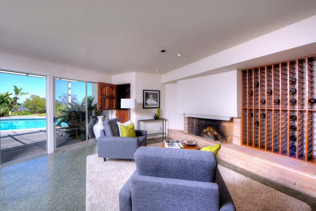 Downstairs den with wine cellar