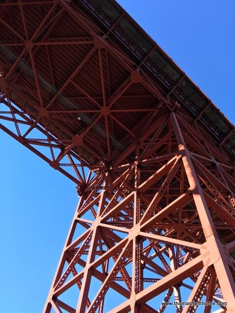 Photo of underside of Golden Gate Bridge from Fort Baker