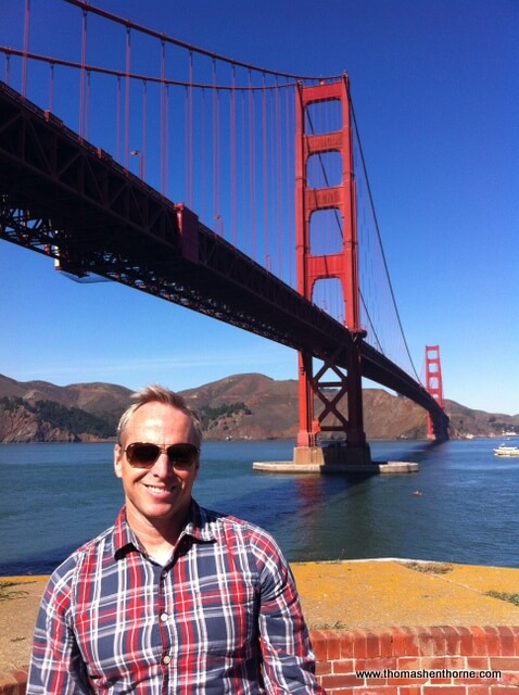 Photo of Thomas Henthorne and the Golden Gate bridge in background taken by Pat Whitt