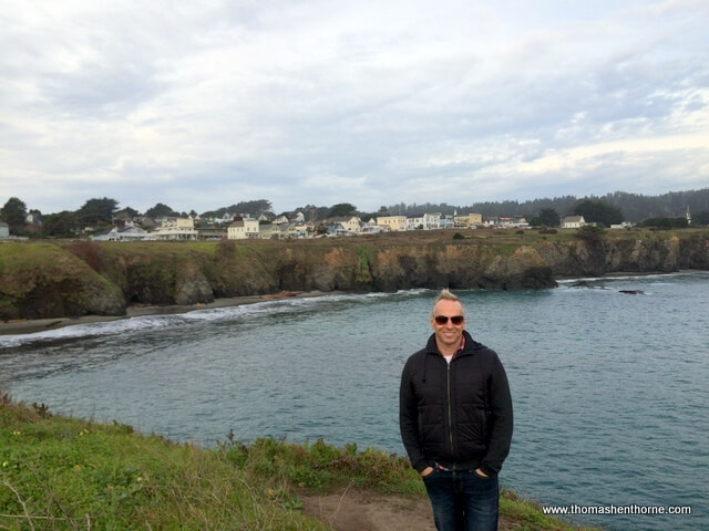 Photo of Your Marin Realtor Blocking the View of the Town of Mendocino