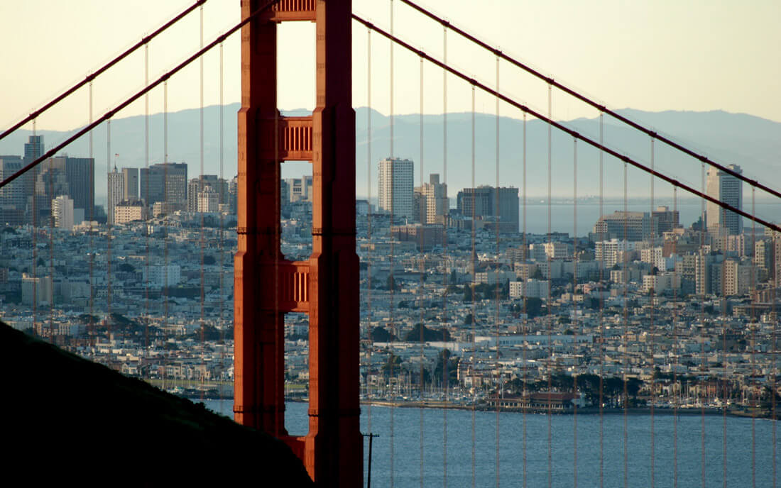 photo of San Francisco through the Golden Gate Bridge