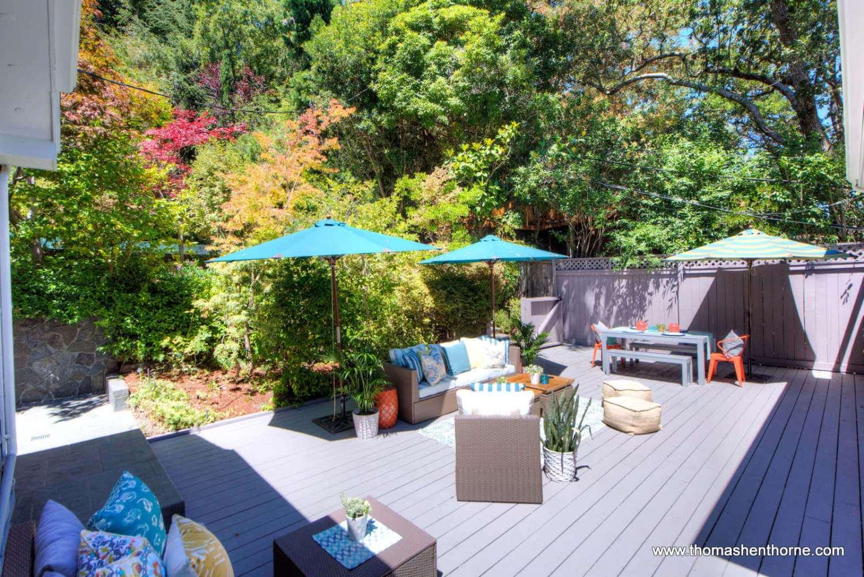 patio and umbrellas